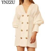 YNZZU 2019 Summer new arrival white V neck dress Double breasted full sleeve mini dress Linen relaxed women vestidos YD250