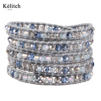 Kelitch Pure Handmade Weave Crystal Beads 5 Wrap Stretch High Quality Multilayers Friendship Cuff Bracelets AZ5W