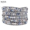 Kelitch Pure Handmade Weave Crystal Beads 5 Wrap Stretch High Quality Multilayers Friendship Cuff Bracelets AZ5W-15022