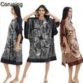 RB062 2017 Fashion Satin Silk Women Loose Painted Loungewear Half Bat Sleeve NightSkirt One Piece Homewear Plus Size Nightgown