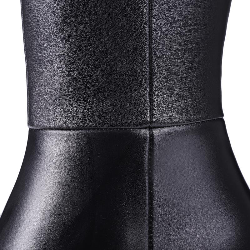 Le Genou Bottes Black Dames Latérale Chaussures Élégant D'hiver Masgulahe Sur Chaud Cuir Bout Femmes Pour Glissière En Véritable Pu Carré jA534RLq