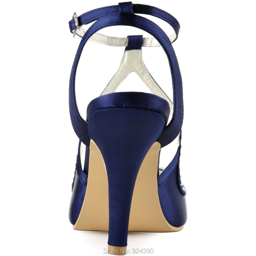 ElegantPark E EP11058 Women Navy Blue Satin Stiletto Heel Peep Toe With Pearls  Rhinestones Buckle Sandals Wedding Party Shoes-in Women s Sandals from Shoes  ... d667a5bbfe65