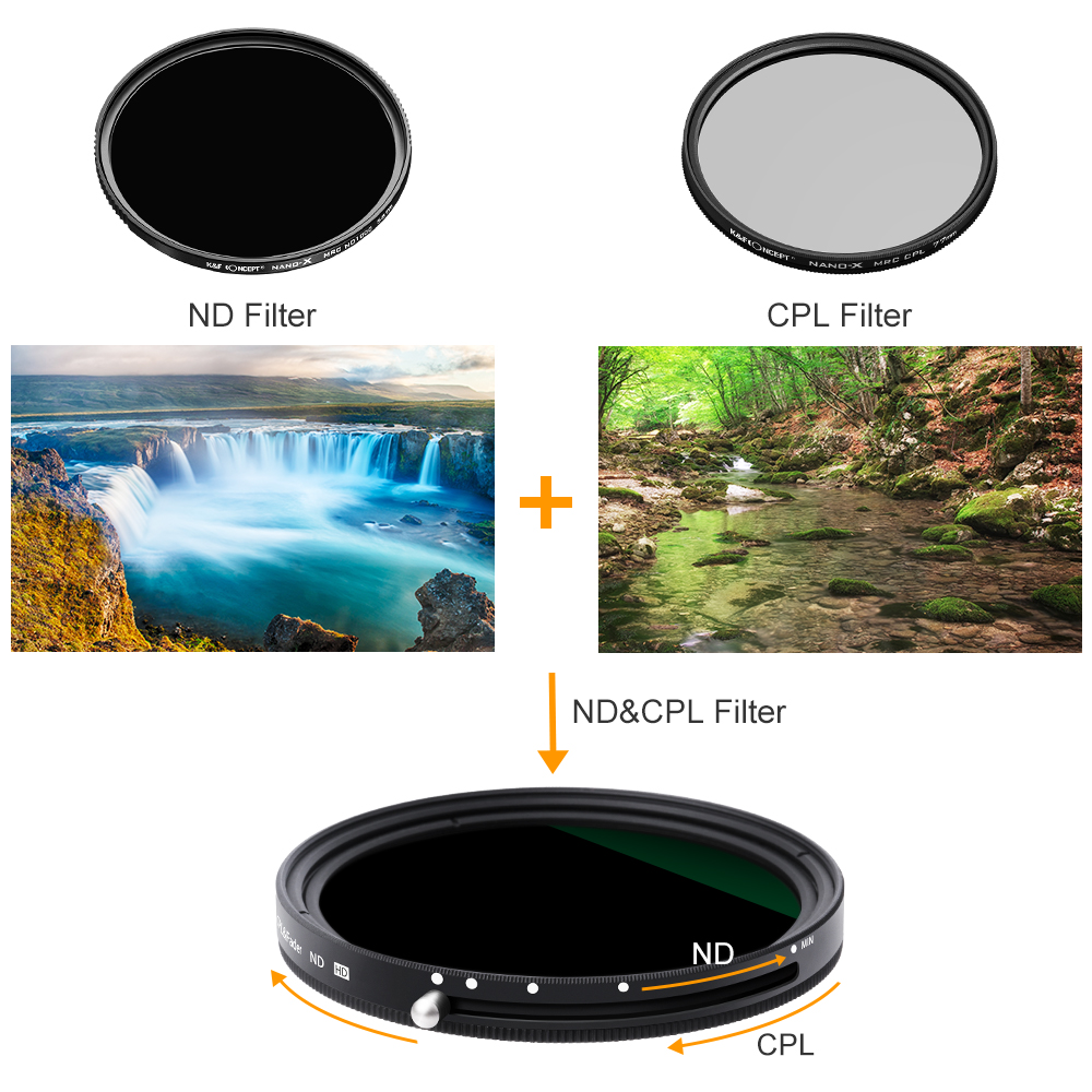 K&F Concept 2in1 Fader Variable ND Filter+CPL Circular Polarizing Filter 67mm 72mm 77mm 82mm ND2 to ND32 for Camera Lens Filter