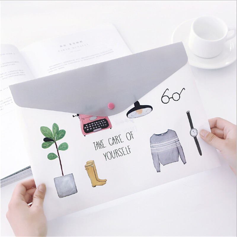 1PC Fashion PVC A4 File Folder Cute Document Filing Bag Stationery Organizer Bag School Office Supplies Girls
