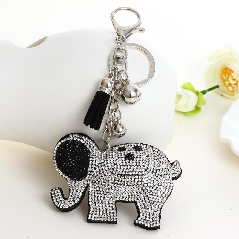 Full Rhinestone Elephant Leather Keychains Crystal Bag Pendant Key ring Key chains Key Holder Christmas Gift Jewelry Llaveros