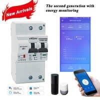 Disjoncteur intelligent WiFi 2P avec surveillance de l'énergie et fonction de compteur avec Alexa et Google home pour Smat Home RS485