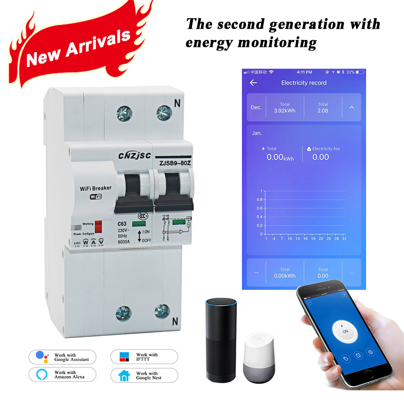 The second generation 2P WiFi Smart Circuit Breaker with Energy monitoring and meter function for Amazon Alexa and Google home-in Circuit Breakers from Home Improvement