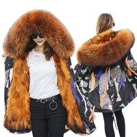 Новая мода Лисий мех енота лайнер преодолеть женские средней длины Parker шуба из меха енота верхняя одежда с капюшоном зимние Jacket283