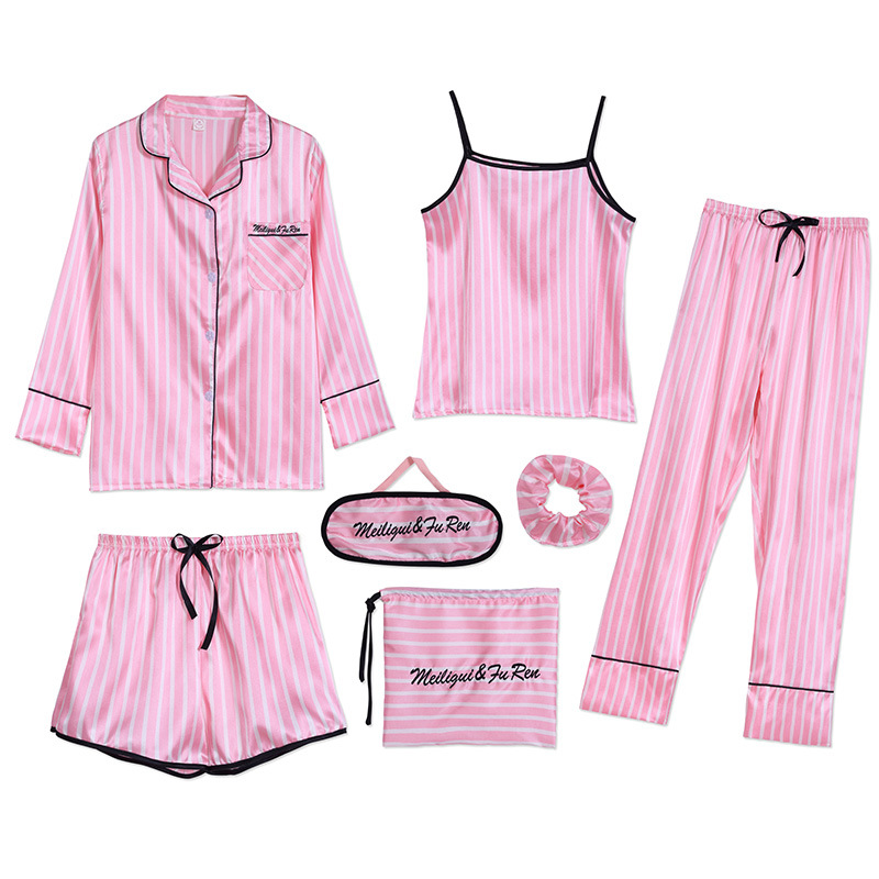 Sleepwear 7 Pieces Pyjama Set 2019 Women Autumn Winter Sexy Pajamas Sets Sleep Suits Soft Sweet Cute Nightwear Gift Home Clothes