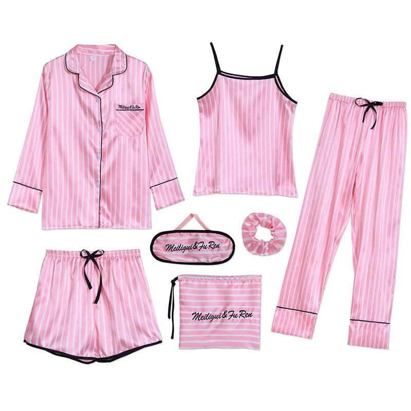 Sleepwear 7 Pieces Pyjama Set 2019 Women Autumn Winter Sexy Pajamas Sets Sleep Suits Soft Sweet Cute Nightwear Gift Home Clothes