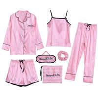 Sleepwear 7 peças conjunto de pijama 2019 feminino outono inverno sexy pijamas define ternos do sono macio doce bonito nightwear presente roupas para casa