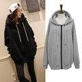 5xl плюс большой размер женщин одежда 2016 весна осень зима корейский потерять с капюшоном флис пальто черный серый толстовки женский A2076