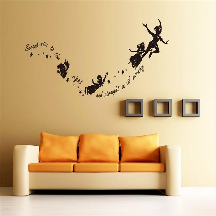 Peter Pan Wall Sticker Monochrome Girls Wall Decals Kids Famous ...