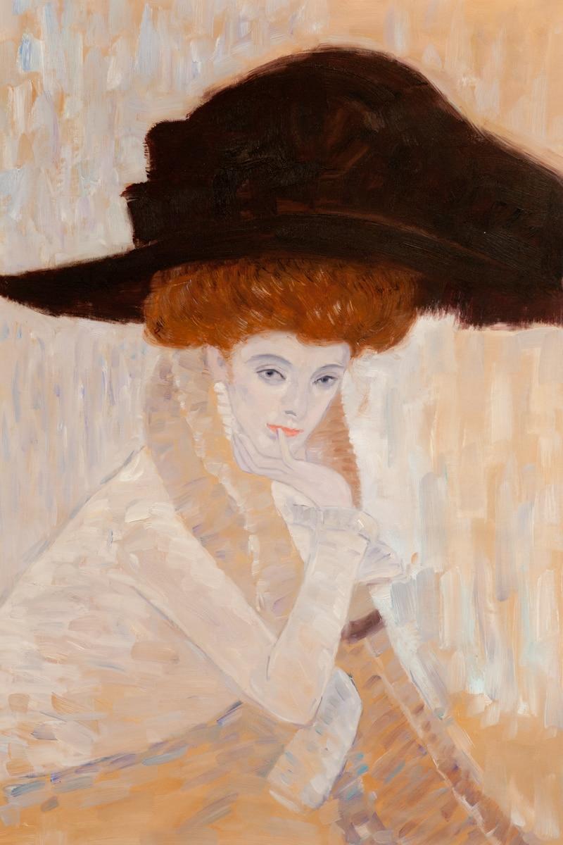 Peinture à l'huile peinte à la main, chapeau de plume noire de Gustav Klimt, peintures de Portrait de femme classique, images de décoration murale de maison