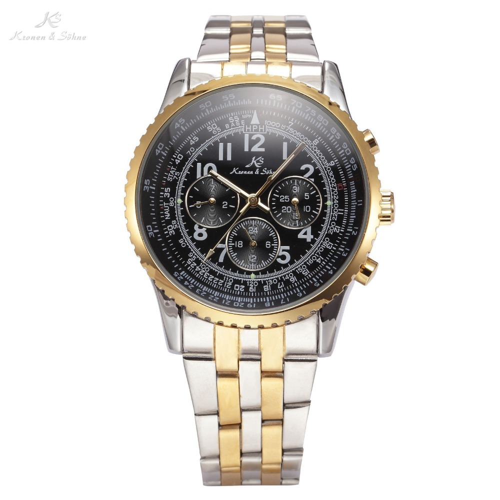 Ks Aviator Relogio Masculino Luxury Day Date 24 Hours Display Full Steel Watch Men Automatic Mechanical Mens Wristwatch / KS158 ks watches luxury date day display relogio masculino leather band automatic self winding men mechanical wrist watch gift ks183