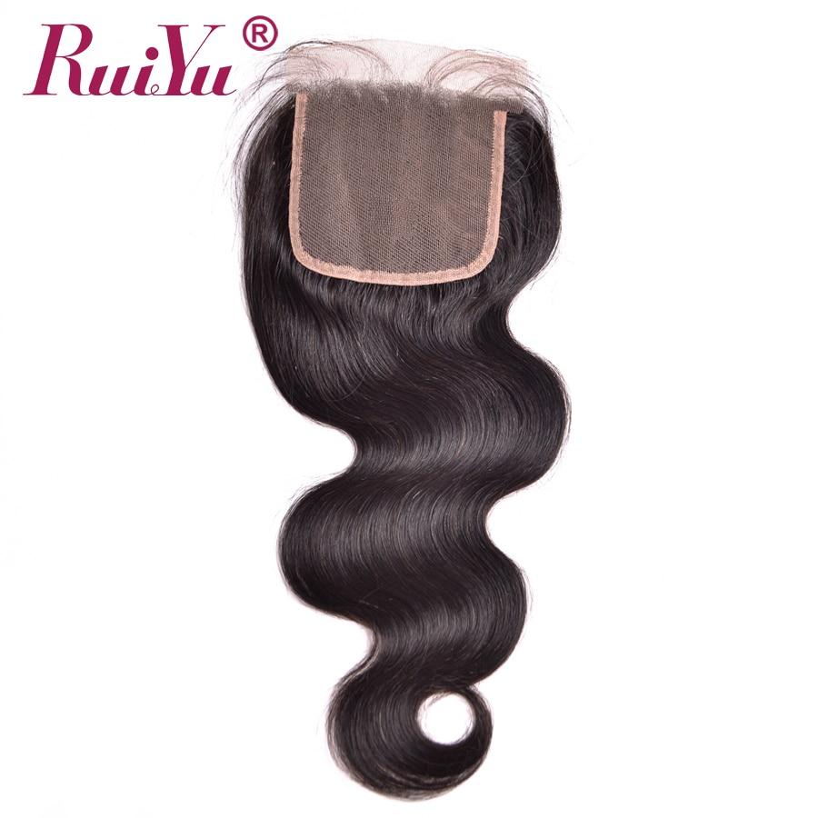 RUIYU Hair Brazilian Body Wave Hair Lace Closure 4 X4 Non Remy Bleached Knots 100 Human