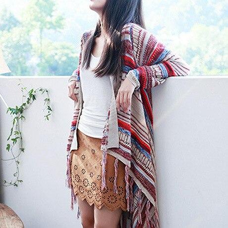 Женский свитер, осенне-зимний винтажный вязаный кардиган с кисточками, Длинные свободные свитера, одежда Vestidos LXJ370 - Цвет: Многоцветный