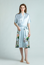 SEDBOJ Custom Made 100% Silk Robe Floral Bathrobe  Pajamas Printing Blue Robes for Women