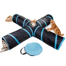 цены Pet Cat Tunnel Toys for Cat Kitten 4 Holes Collapsible Crinkle Cat Playing Tunnel Toy with Ball Tent Toy for Small Animal Rabbit