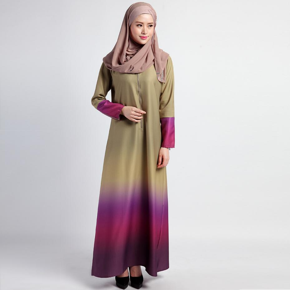 Cotton Maxi Dress 2017 Muslim Style Fashion Women Clothing O Neck Rainbow Colors Vintage Long