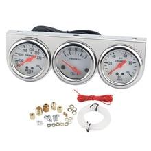 Auto Car Oil Pressure Water Temp Amp Meter Gauge Mechanical With Sensor Triple Panel