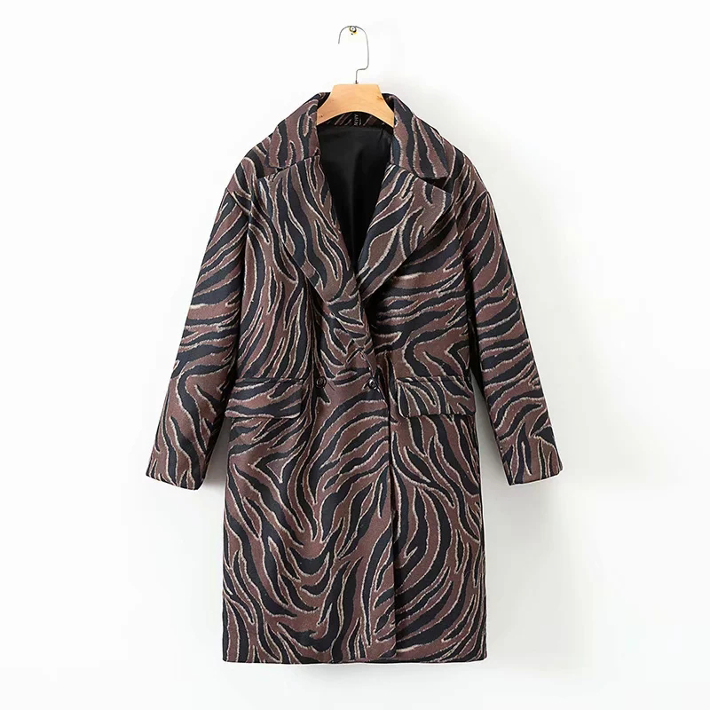 Women Fashion Animal Print Long Cashmere Coats 2018 Autumn-Winter Womens Warm Brown Outwear Coat Female V-neck Thick Clothes