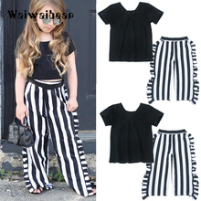 New Childrens Sets  T-shirt Tops+ Long Striped Pants Summer Outfits Clothes 2PCS Cotton Baby Clothing For Girls