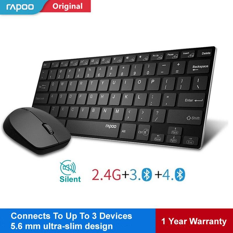 Rapoo Multi-mode Sans Fil Clavier Commutateur Entre Bluetooth et 2.4g Connecter 3 Dispositifs Silencieux Clavier Souris Optique Ensemble pour Tablet