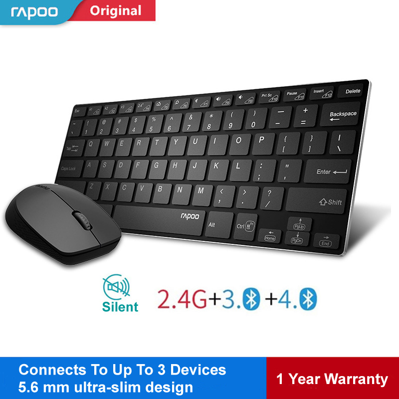 Rapoo Multi-mode Wireless Keyboard Switch Between Bluetooth & 2.4G Connect 3 Devices Silent Keypad Optical Mouse Set for Tablet