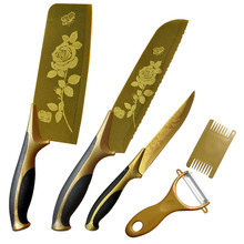 2015 new Titanium cutting tools set stainless steel kitchen knife beef gift non-ceramic / chef / slicing meat /  peeler knife