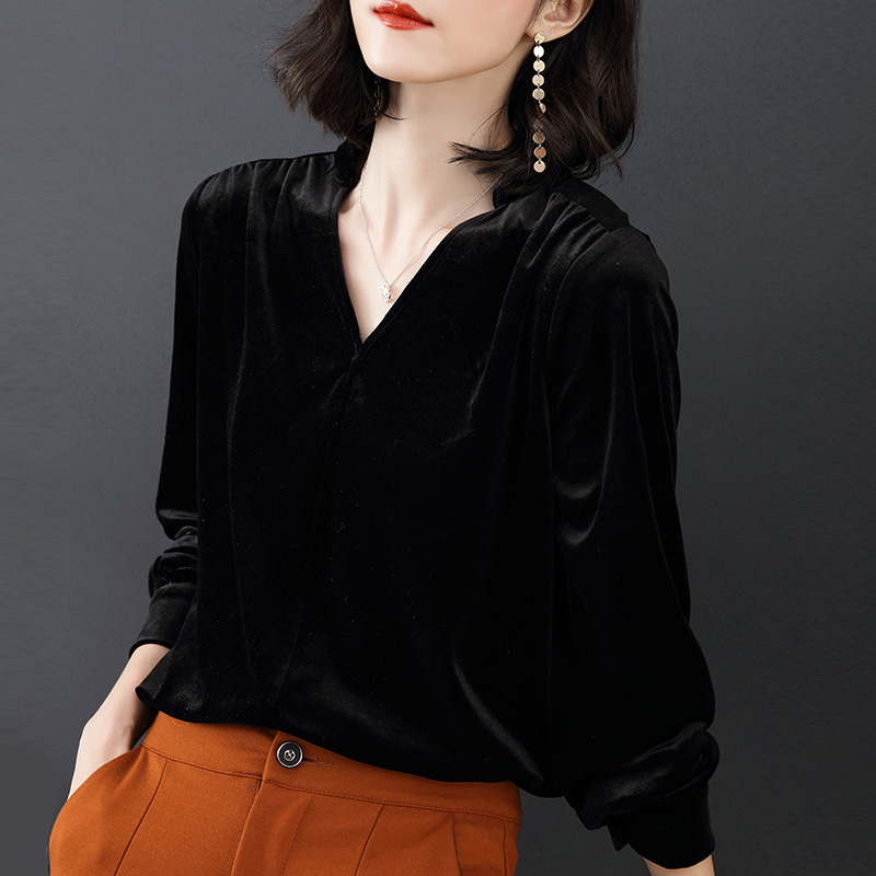 Gold Velvet V Neck Fashion Sexy Shirt Women Pullover Simple Loose Large Size Female Clothing Soft Comfortable Solid Color Tops in Blouses amp Shirts from Women 39 s Clothing