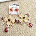 2016 Moda Barroca Grandes Brincos Grandes Cruzadas Preto/Vermelho de Cristal Exagero Dangle Ear Jóias pendientes Declaração Presente Femme