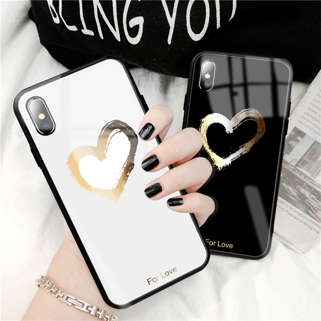 Tempered glass Soft TPU Edge Case For iPhone XS MAX XR 8 7 6 6S Plus Painted Layer Back Cover Love Heart Cases Capa Coque Funda