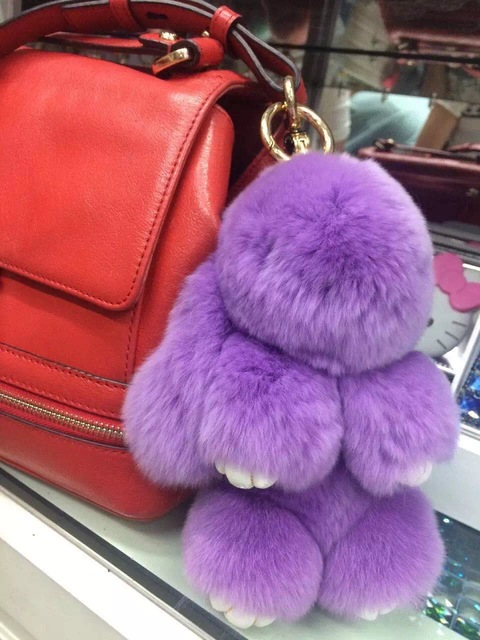 Cute Bunny Handbag Charm Tote Bag accessories kawaii Rabbit Dolls bag charm keychains Violet Puffs Genuine Fluffy Key Ring