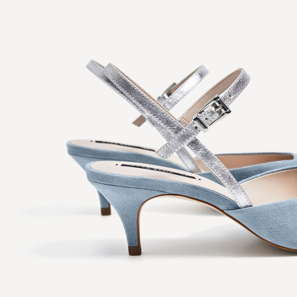 WEIQIAONA casual light blue women shoes low heels single Fashion women buckle strap pumps Dress shoes Party shoes real picture