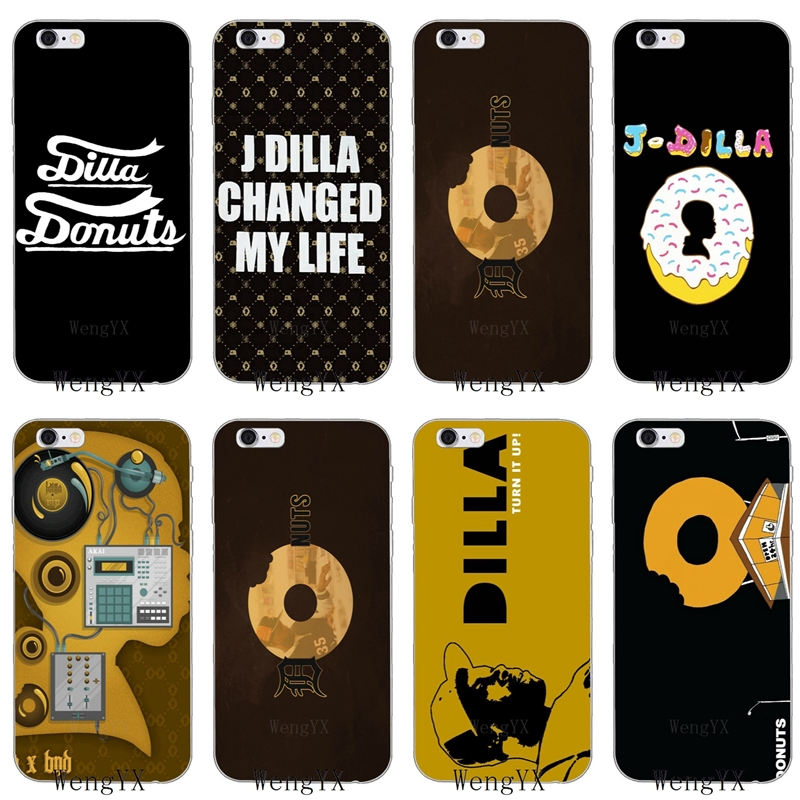 US $1 99 |cool J DILLA DONUTS Slim silicone Soft phone case For iPhone X 8  8plus 7 7plus 6 6s plus 5 5s 5c SE 4 4s-in Half-wrapped Cases from