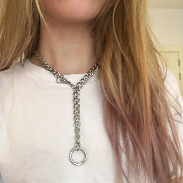60cm Cool Handmade Silver Chain Choker Necklace for Women Men Girls Punk Gothic Metal Chain Collar with O Round