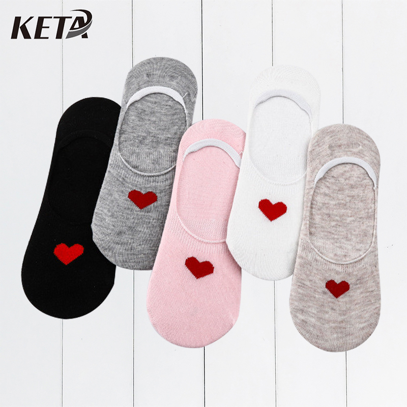 [KETA] Fashion Cute Women's   Socks   Casual Colorful Cotton Funny   Socks   Female Short Boat Invisible   Socks   Ladies Ankle Sox