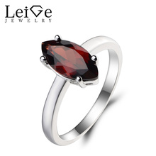 Leige Jewelry Natural Red Garnet Ring Cocktail Party Ring January Birthstone Marquise Cut Red Gems 925 Sterling Silver Ring