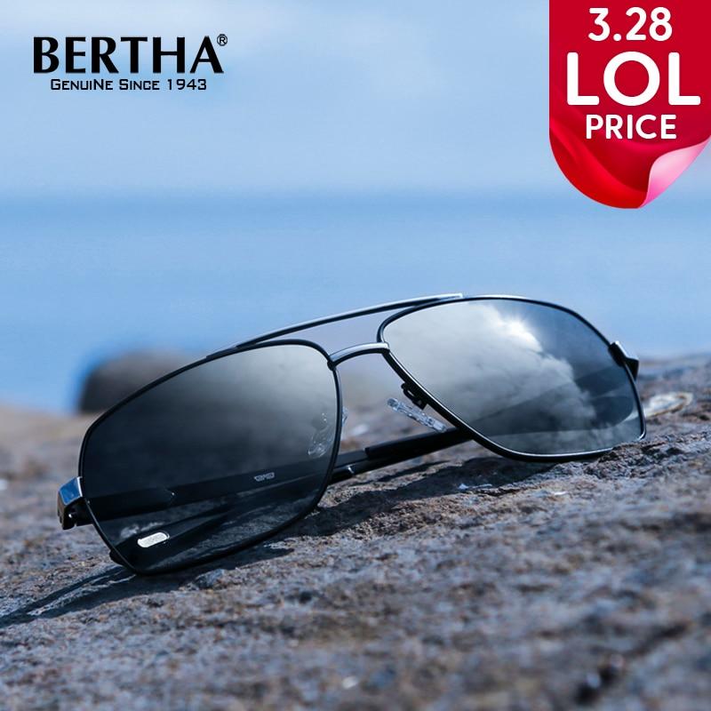 Bertha High Guality Fashion Aviator HD Polarized Sunglasses Men Driving Fishing Glasses Brand Designer For Men 8002 fashion sunglasses men polarized coating sunglass driving sunglasses women brand designer polaroid oculos sun glasses zy2206h