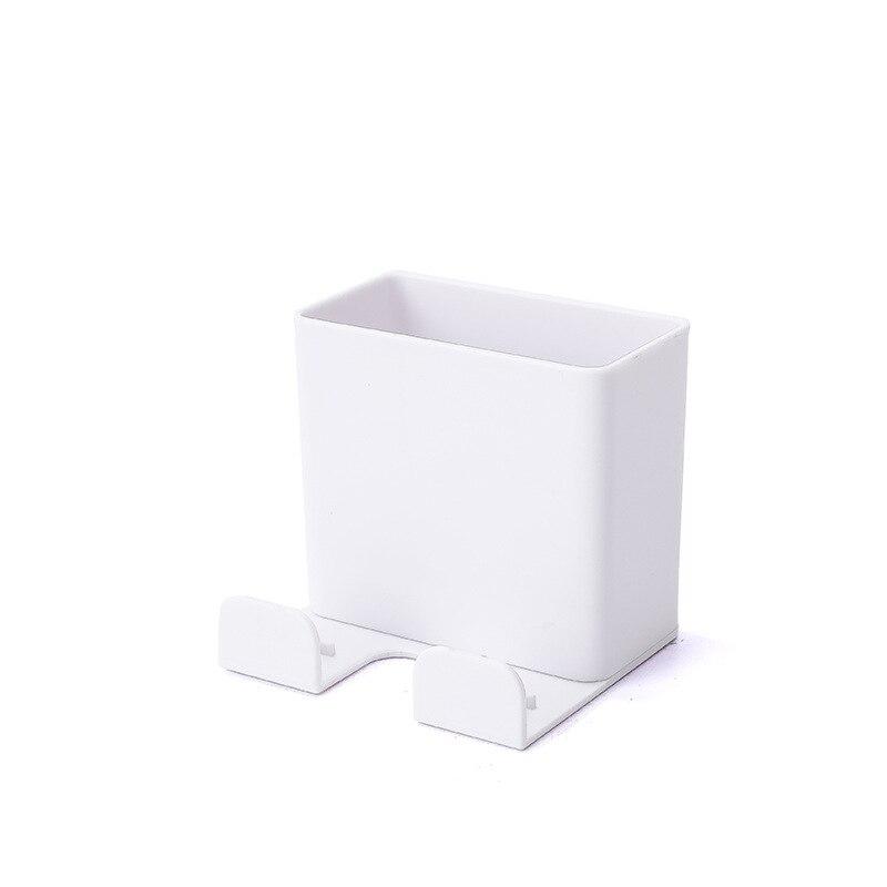 1 шт. настенный органайзер коробка для хранения пульт дистанционного управления кондиционер чехол для хранения мобильного телефона держатель подставка контейнер - Цвет: Белый