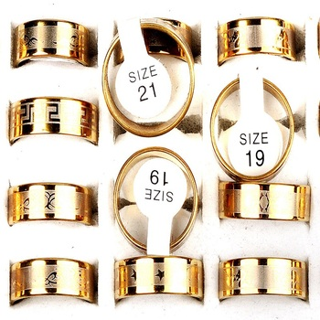 Rings For Men Wholesale Price 12PCS Lot Gold Color Stainless Steel Multi Pattern Fashion Jewelry anelli uomo image