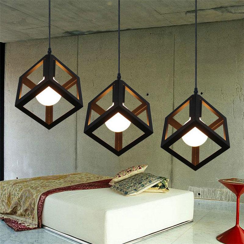 Lamp Pendant Lights Modern LED Pendant Lamp Metal Cube Cage ...