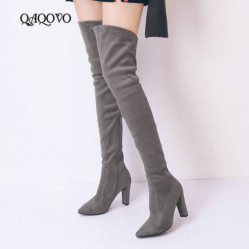 2ea4fa0e0df Women Faux Suede Over The Knee Boots Fashion Zipper Fall Winter Thigh Boots  Square High Heel Pointed Toe Stretch Shoes Women
