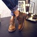 Retro Couro Genuíno Lace Up Oxford Dos Homens Sapatos de Trabalho Botas De Inverno Da Pele do Tornozelo Sapatos Marten Botas de Montaria