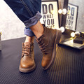 Retro de Cuero Genuino Lace Up Para Hombre Oxford Zapatos de Trabajo Zapatos Marten Botas de Montar Botines de Piel de Invierno