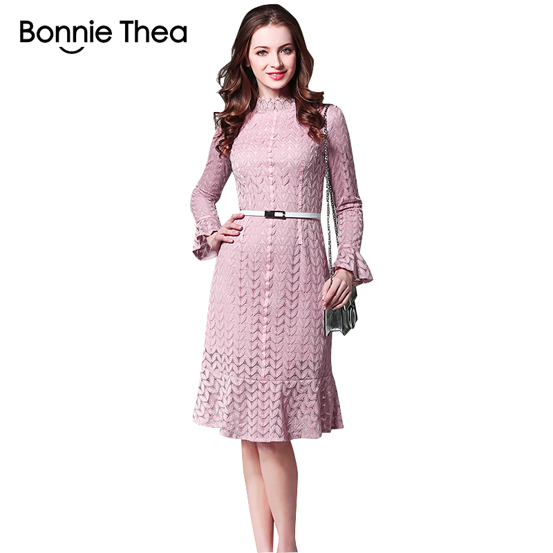 Bonnie Thea Autumn women pink black lace dress female Mermaid OL office work party casual ladies