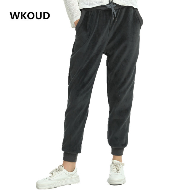 WKOUD Women Winter Velvet Pants Gold Fleeces Thickening Elastic Drawstring Waist Harem Pants Female Warm Hot Trousers P8103