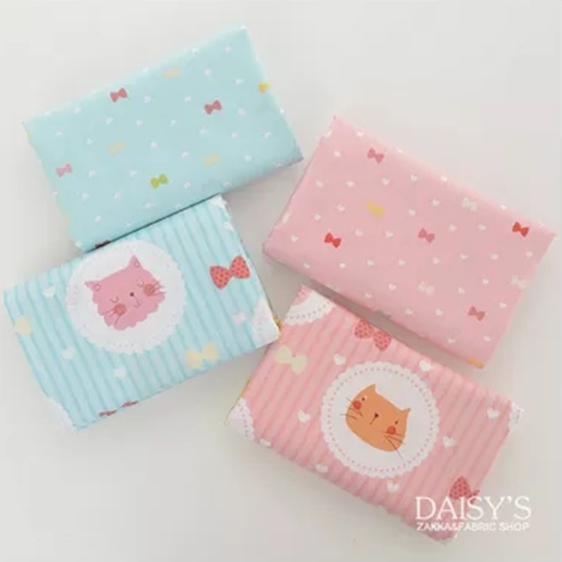 Children Baby Bedding Patchwork Fabric Cotton Cat Printed Blue Pink Christmas Decoration Gifts Cute Cartoon Handmade Pillow Case