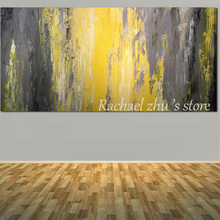 Hand Painted Modern Abstract Textured Thick Oil Painting on Canvas Yellow Grey Abstract Wall Pictures For